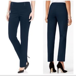 JM Collection Pull On Tummy Control Blue Pants PXL